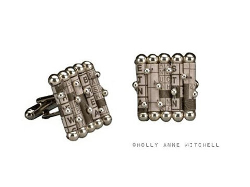 Recycled Newspaper Crossword Puzzle Cufflinks by Holly Anne Mitchell