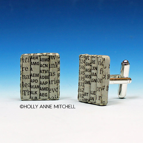 Recycled Newspaper Stock Listing Cufflinks by Holly Anne Mitchell