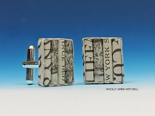 Recycled Newspaper Jewelry Advertisement Cufflinks by Holly Anne Mitchell
