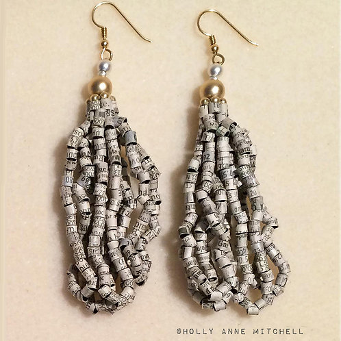 Recycled Financial Newspaper Stock Listing Tassel Earrings