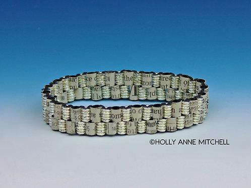 Recycled Newspaper Stock Listing Bracelet by Holly Anne Mitchell