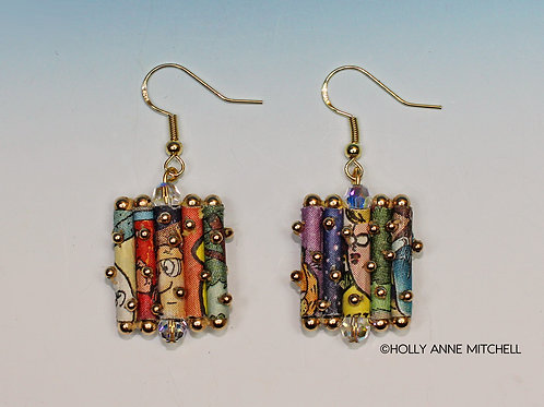 Recycled Newspaper Comic Strip Dangling Earrings by Holly Anne Mitchell