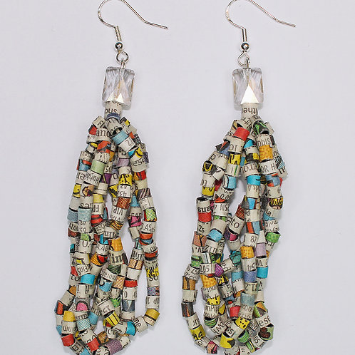 Recycled Newspaper Comic Strip and Stock Listing Earrings by Holly Anne Mitchell