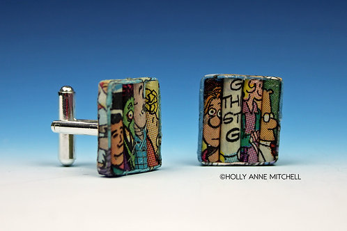 Recycled Newspaper Comic Strip Cufflinks by Holly Anne Mitchell