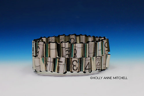 Recycled Newspaper Sudoku Puzzle Bracelet by Holly Anne Mitchell