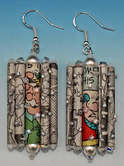 Recycled Newspaper Comic Strip Dangling Earrings