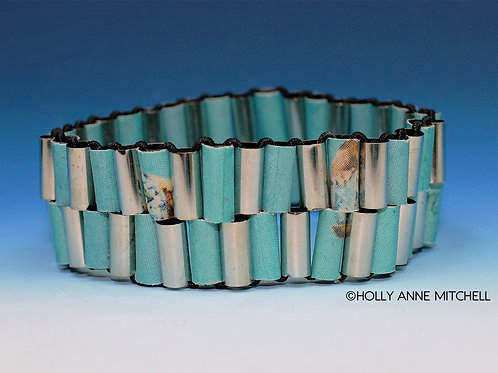 Recycled Newspaper Jewelry Advertisement Bracelet by Holly Anne Mitchell