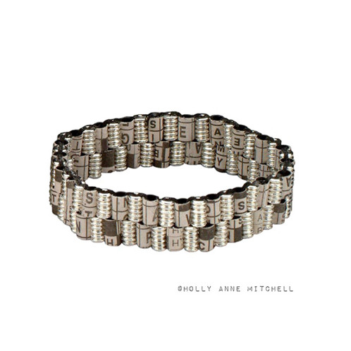 This Unique Eco Friendly Bracelet Consists Of Recycled Newspaper Crossword Puzzles And Puzzle Solutions
