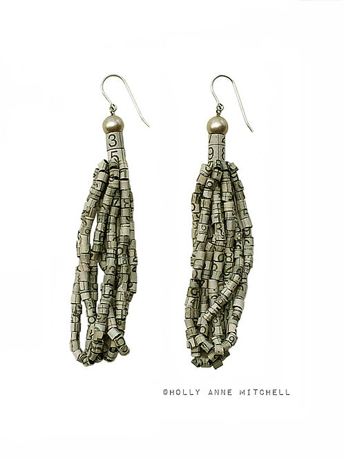 Recycled Newspaper Sudoku Puzzle Tassel Earrings by Holly Anne Mitchell