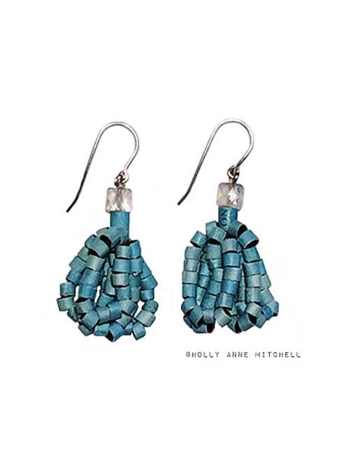 Recycled Newspaper Jewelry Advertisement Earrings by Holly Anne Mitchell