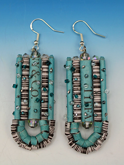 Recycled Newspaper Jewelry Advertisement and Expired Coupon Bar Code Earrings by Holly Anne Mitchell