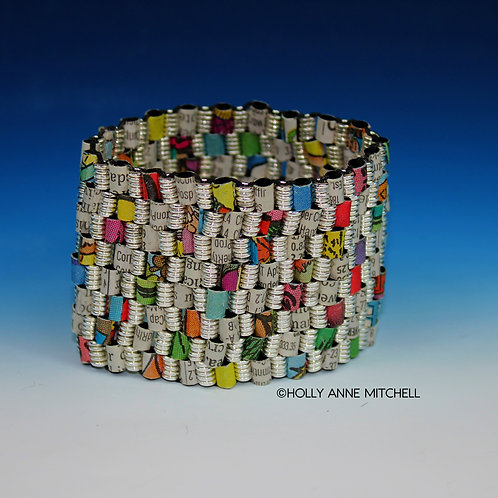 Recycled Newspaper Comic Strip and Stock Listing Bracelet by Holly Anne Mitchell