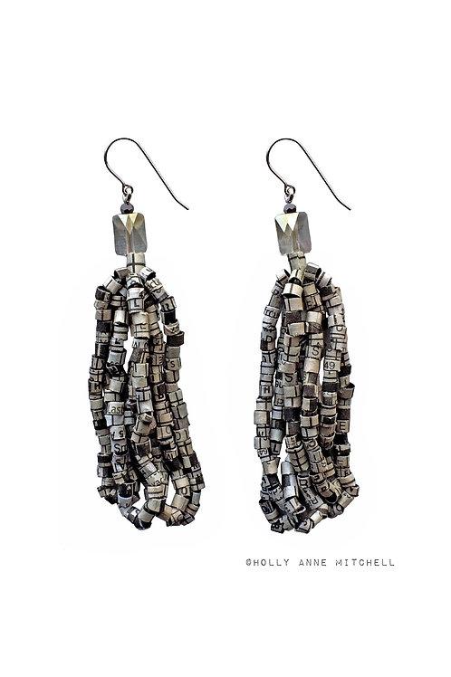 Recycled Newspaper Crossword Puzzle Tassel Earrings