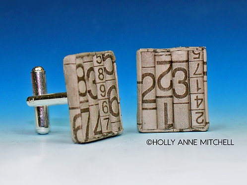 Recycled Newspaper Sudoku Puzzle Cufflinks by Holly Anne Mitchell