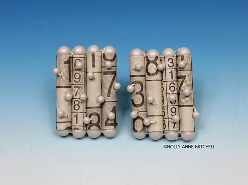 Recycled Newspaper Sudoku Puzzle Earrings by Holly Anne Mitchell