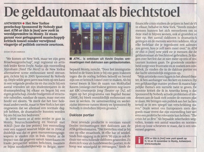 """ATM or this is (not) new york"" (review, in Dutch) - DeMORGEN (Belgium)"