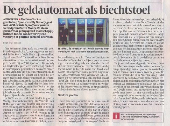 """""""ATM or this is (not) new york"""" (review, in Dutch) - DeMORGEN - Belgium (2010)"""