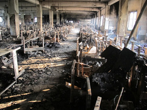 Tazreen factory floor -aftermath of fire (December 2012).
