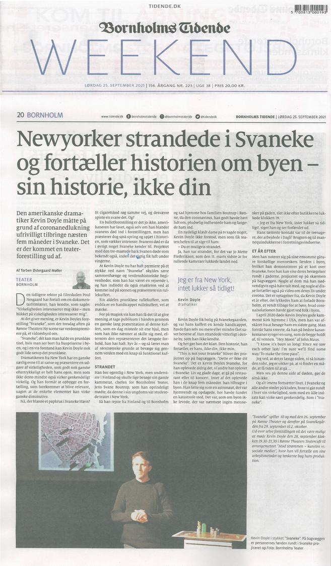 """Svaneke"" (review, in Danish) - BORNHOLMS TIDENDE - Denmark (September 2021)"