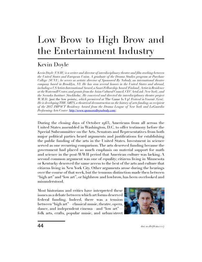 """""""High Brow to Low Brow and the Entertainment Industry"""" (1)"""