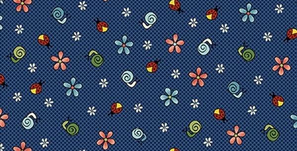 Tela Florecitas azul - Backyard Happenings