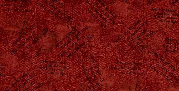Tela Autumn Song Words and Leaves Red