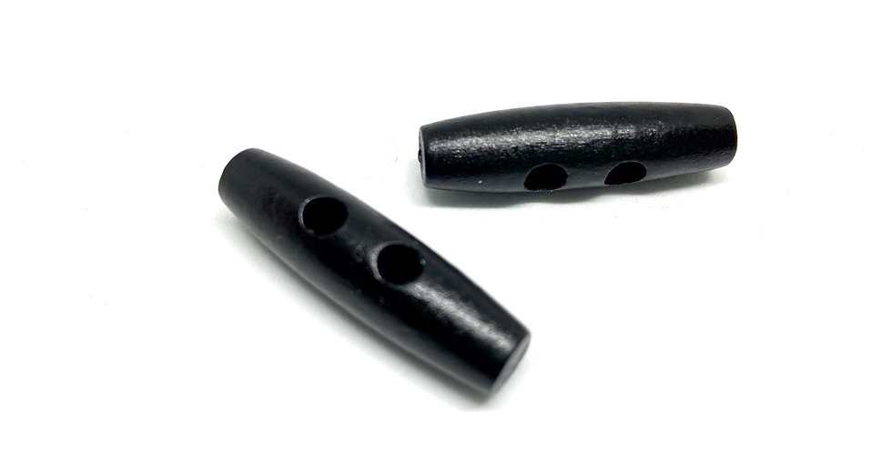 Botón Madera Alargado Negro - Grande