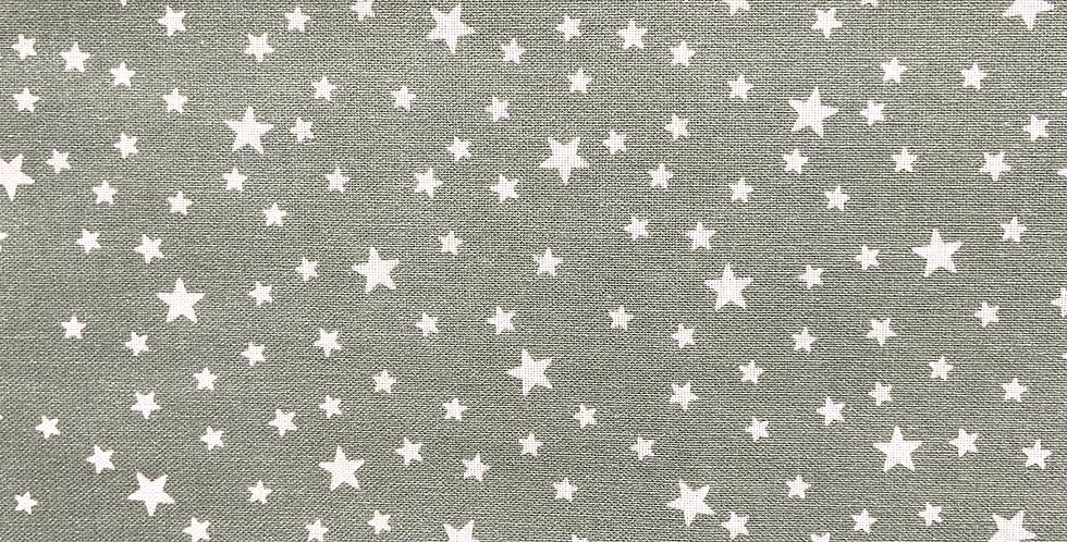 Tela Estrellas Blancas Fondo Verde Mint