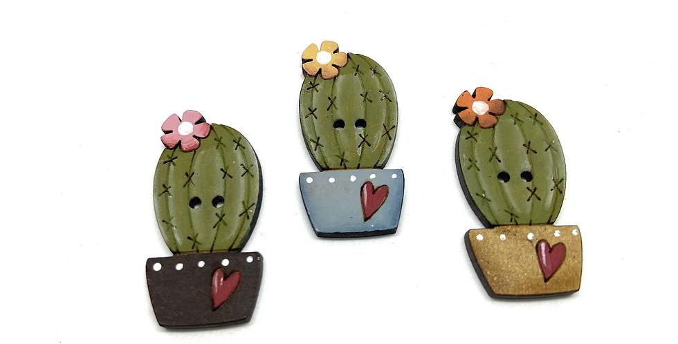 Boton Madera Cactus