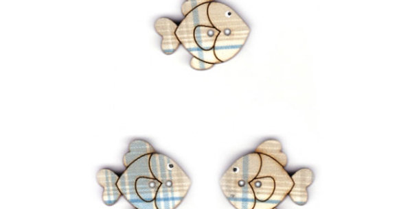 Botón Madera con tela 'Peces'