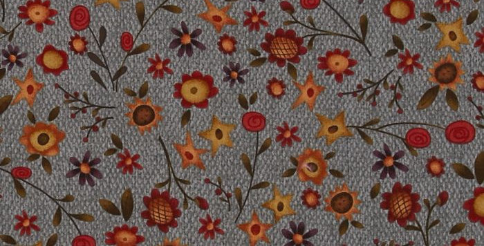 Tela Autumn Song Tossed Flowers Blue