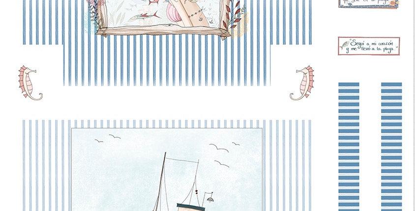 Panel Bolsa de playa - Hablando con sirenas - Altillo de los duendes