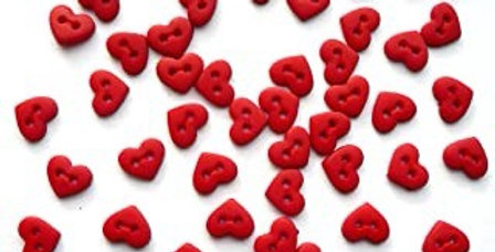 Botones Dress It Up 'Micro Red Hearts'