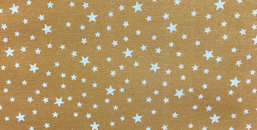 Tela Estrellas Blancas Fondo Mostaza