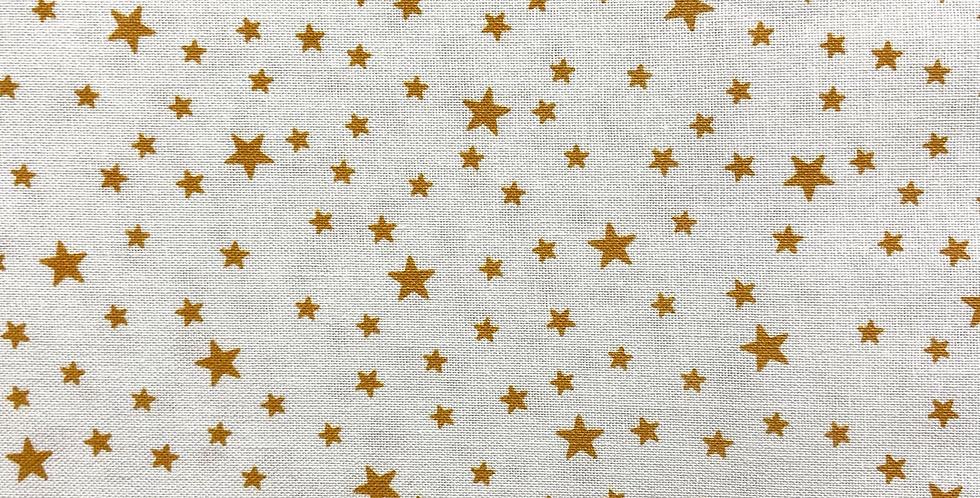 Tela Estrellas Mostazas Fondo Blanco