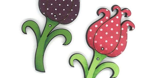 Botón Madera con tela 'Flores'