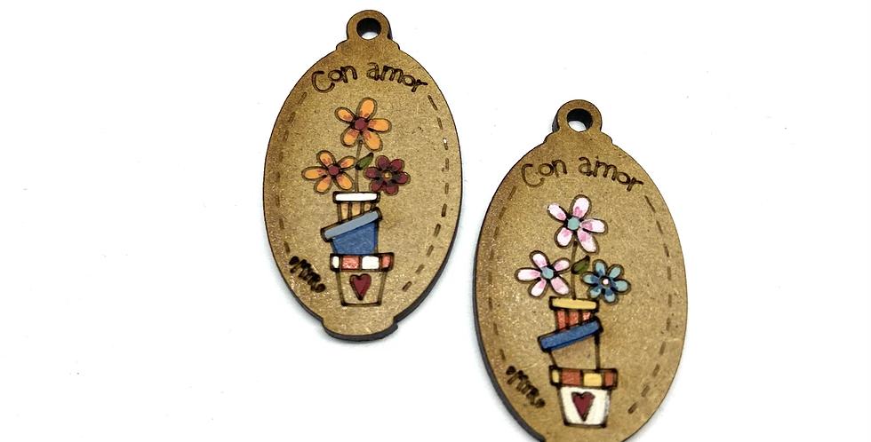 Boton Madera Flores con amor