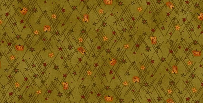Tela Autumn Song Mini Stars and Pumpkins Green