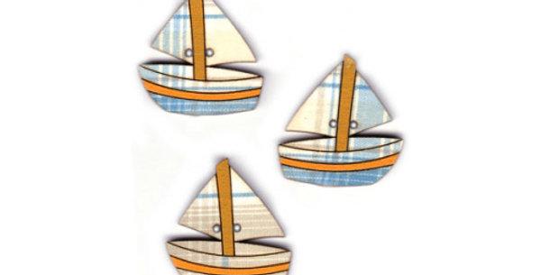 Botón Madera con tela 'Barcos'