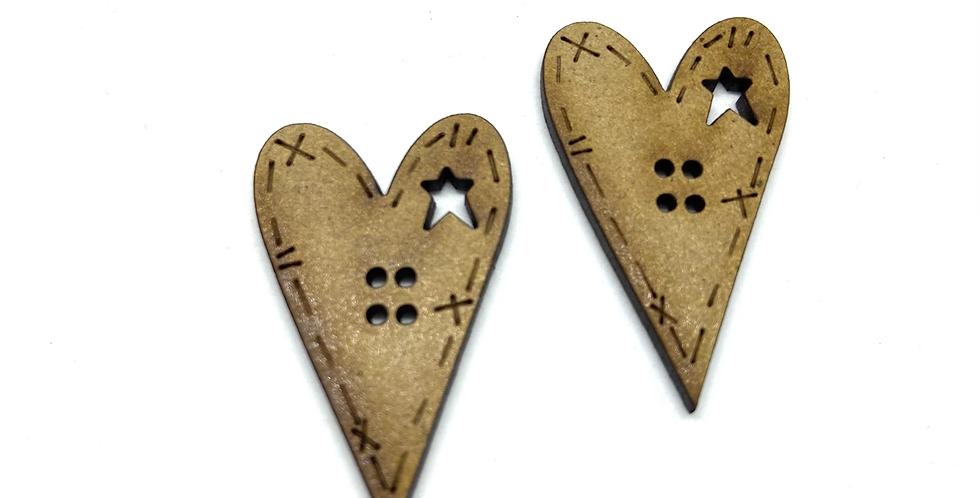 Boton Madera Corazon con Estrella Troquelada