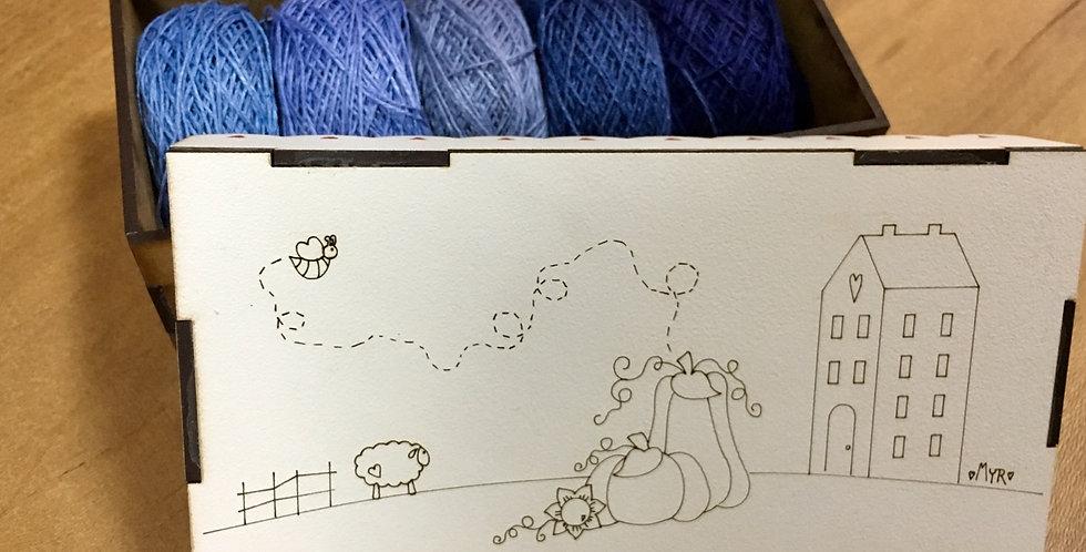 Caja + 5 hilos de lino (gama azules)