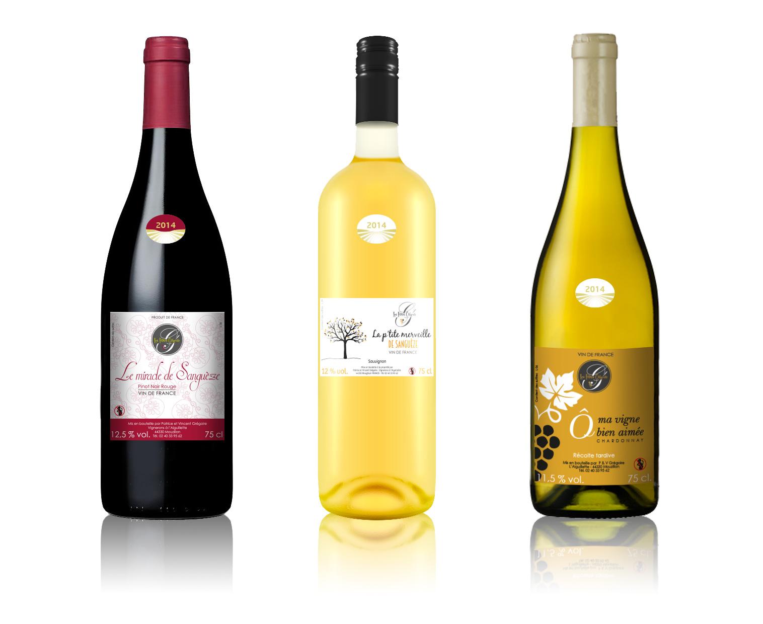Etiquettes vins Les Frères Grégoire