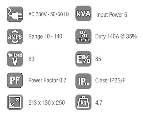 Arc 140 Welding Inverter Data