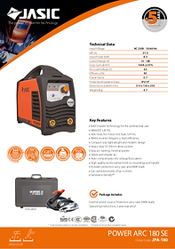 Jasic Power Arc 180 SE Sales Leaflet