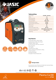 Jasic Plasma Cut 80 Sales Leaflet