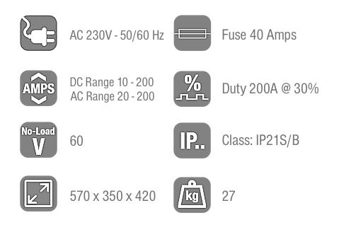 Jasic TIG 200 Technical Data