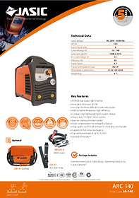 Jasic Arc 140 Sales Leaflet