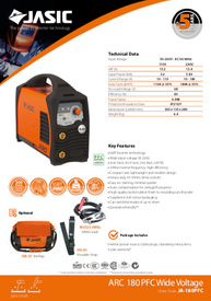 Jasic Arc 180 PFC Sales Leaflet