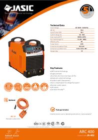 Jasic Arc 400 Sales Leaflet