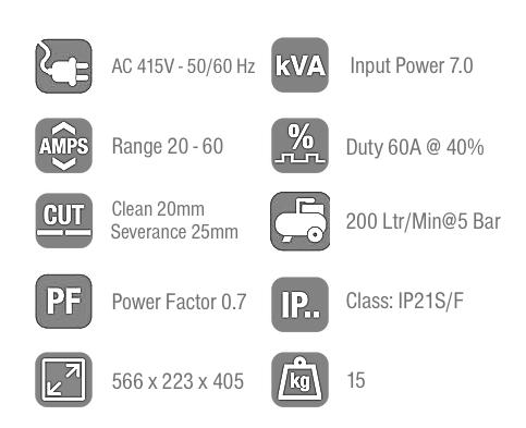 Jasic Plasma Cut 60 Technical Data